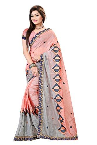 Saree (Vastrang Sarees Women's Peach Colour Pure Cotton Embroidered Designer Saree with Peach Dhupion silk blouse piece, Partywear saree_VS1113710_Free Size)