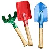 Softball Lower 3pièces Set jardinage–Pelle–Râteau–Bêche–en bois et métal–pour enfants et adultes–Outils de jardin Outil de jardin, bac à sable jouets,–Stable Appareil de jardin en plein air jardin outils Lot de jouets Kids Beach Bac à sable