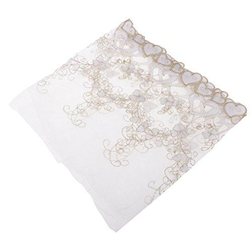 perfk Blumen Spitzenstoff für Brautkleid Farbe zum wählen - Weiß, 91 x 23 cm