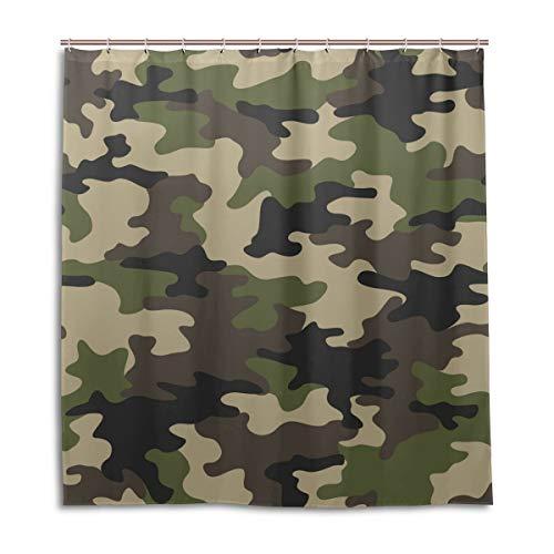 BIGJOKE Duschvorhang, Camouflage-Muster, schimmelresistent, wasserdicht, Polyester, 12 Haken, 167,6 x 182,9 cm, Heimdekoration