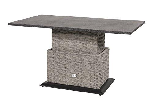 lifestyle4living Rechteckiger höhenverstellbarer Loungetisch aus Rattan, Gartentisch ist grau und...
