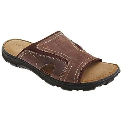 Roamers - Sandales en cuir - Homme (41 EUR) (Marron foncé)