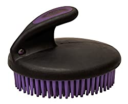 Weaver Leather 65-2061-C3 Palm-Held Fine Curry with Small Rubber Bristles, Purple/Black
