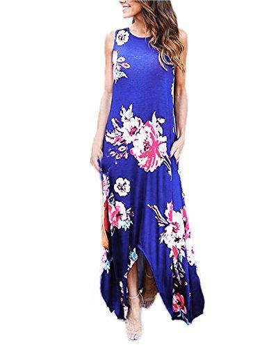 Auxo Damen Ärmellos Lange Kleider Blumen Rundhals Dress Sommer Lose Party Strandkleid Blau EU 40/Etikettgröße L - Floral Print Sommer Kleid