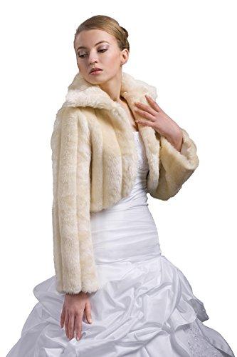 Bolero da sposa con colletto, pelliccia di visone (sintetica), a maniche lunghe Creme/Ivory