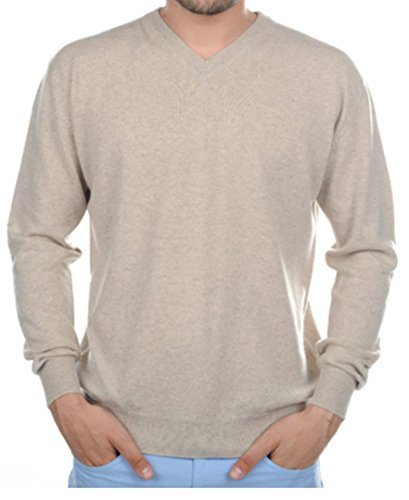 Preisvergleich Produktbild Balldiri 100% Cashmere Kaschmir Herren Pullover V Ausschnitt braun meliert XS