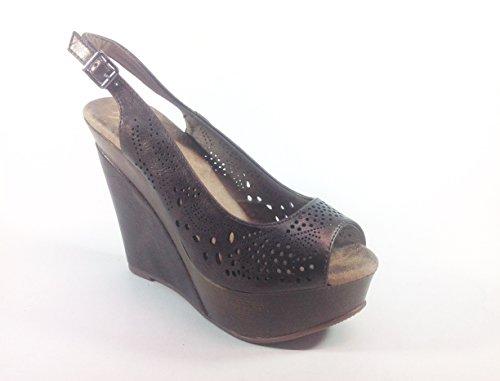 Chaussures Sandales femme-calage en simili cuir 10 JB185 Bronze Marron - Marrone bronzo