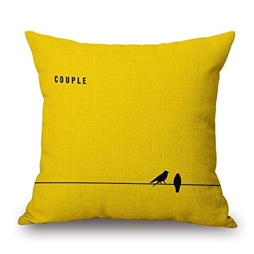 Zantec Gelb weichen Leinen Platz Kissenbezug Auto Sofa Taille Wurf Kissenbezug Home Dekoration (Shabby Chic Tröster Set)