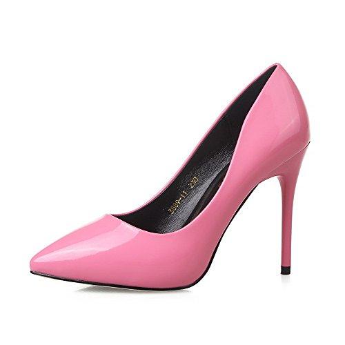 AalarDom Femme Matière Souple à Talon Haut Pointu Tire Chaussures Légeres Rose-10CM