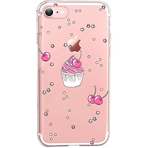 GIRLSCASES® | iPhone 8 / 7 Hülle | Im Macaron Girly Look aus Silikon | Fashion Case transparente Schutzhülle Cupcake