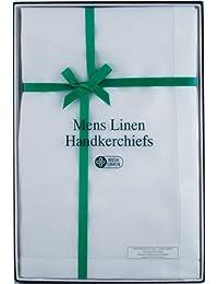 Boîte de 3 véritables mouchoirs irlandais pour hommes 100% lin