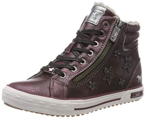 MUSTANG Mädchen Schnür-Booty Hohe Sneaker, Rot (Bordeaux 55), 36 EU -