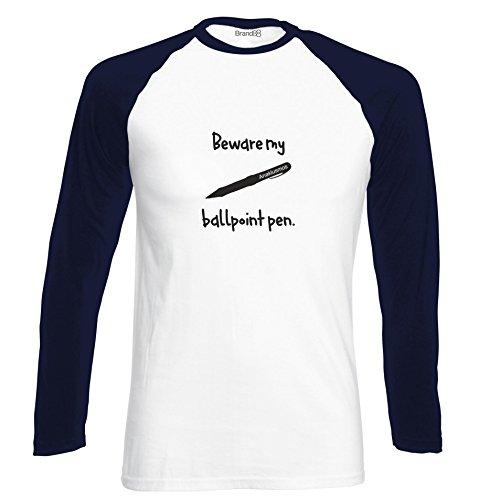 Brand88 - Beware My Ball Point Pen, Langarm Baseball T-Shirt Weiss & Dunkelblau