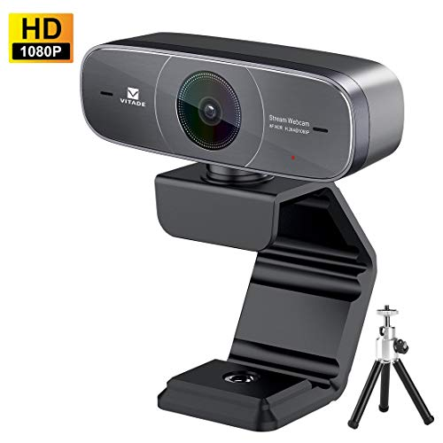 Webcam 1080P Full HD mit Stereo Mikrofon PC Kamera,Vitade 925A HDR Facecam USB Camera für Video Chat Live Streaming Kompatibel mit Mac PC Windows Skype Twitch YouTube Xsplit Xbox One, Include Stativ