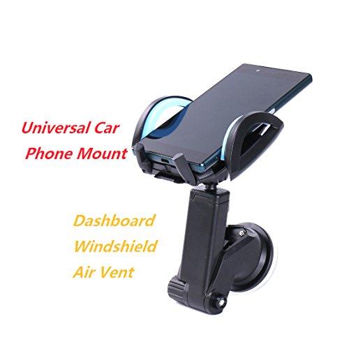 voyaelects KFZ Handy Halterung 360Grad drehbar Länge Verstellbare Multifunktions-Universal für Windsheild, Saugnapf für Armaturenbrett, Auto Air Vent und Sekundenkleber Größe von 3,5'bis 6,8' iPhone 7/7Plus/6S Plus/6S/5/5C/5S/SE, Samsung S6/S5Note 5/4/3, HTC, Sony, LG und andere Smartphones, GPS Geräte Farbe Schwarz (Münze Halter Platte)