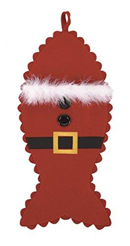 Große Santa Outfit Fische Form Filz Weihnachten Weihnachtsstrumpf für Ihre Lieblings-Katze, 25,4x 53,3cm