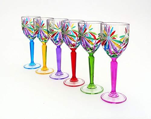 Set von 6 Schnapsglas Oasis cl. 8 multicolour von Hand bemalt Glas, Murano Venedig Stil