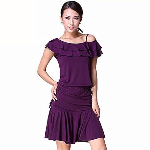 Saloon Fille Costume Violet - Vêtements de danse carrée de danse latino-américaine