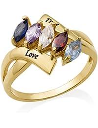 Vergoldeter Geburtsstein-Ring für Mütter - Graviert mit Ihren eigenen 2 Namen und 4 Geburtssteinen