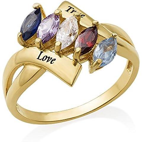 Birthstone anello per mamma, con placcatura in oro personalizzabile & Custom Made