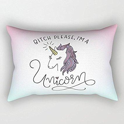 Bithc-Veuillez-Je-suis-une-Licorne-Funny-rectangulaire-Housses-de-coussin-dcoratif-Couvre-lit-Taie-doreiller-12-x-20-pour-femme