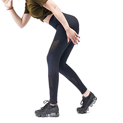 amen Leggins Hose Sportsleggins Laufhose Sporthose Fitness Für Sport Fitness Training Jogging Yoga Mit Netzeinsätzen Elastisch Dehnbar(M Schwarz) ()