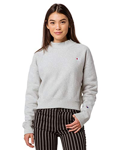 Gerippte Mock Neck Sweater (Champion Life Damen Reverse Weave Mock Neck Crop - SMALL Left Chest C Sweatshirt, Oxford Gray, Mittel)
