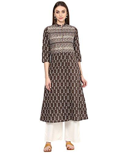 Jaipur Kurti Women's Cotton Brown Block Print Kurta With Off White Palazzo Set