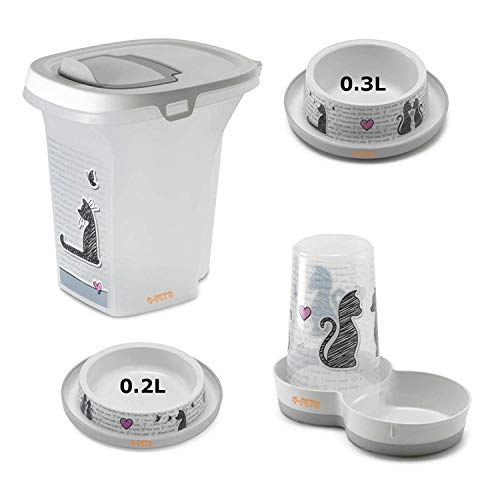 4-Pets Cat Dinner Set Feeder + Storage Box + 0.2L Bowl + 0.3L Bowl From Cats in Love Collection