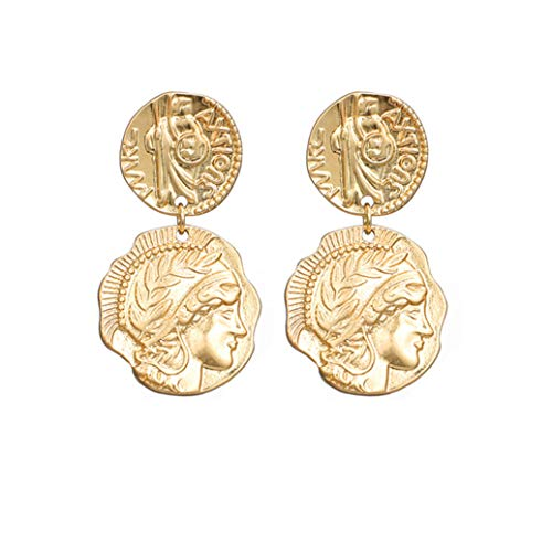 GOMYIE Frauen Gravur Medaille Münze Ohrringe Retro Metall Münze Baumeln Ohrring Schmuck (Gold Farbe)