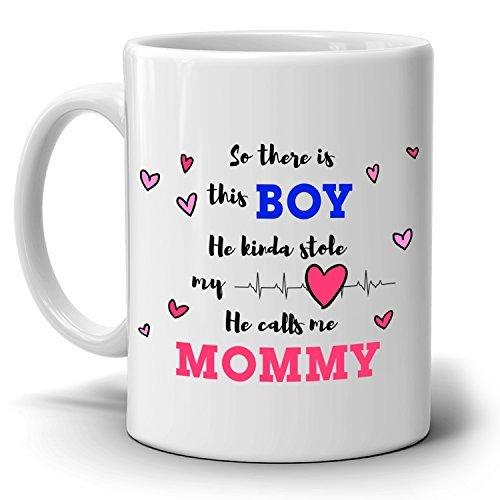 Sons regali di compleanno per mamme tazza così c' è un ragazzo he kinda stole my heart he calls me mommy, stampato su entrambi i lati.