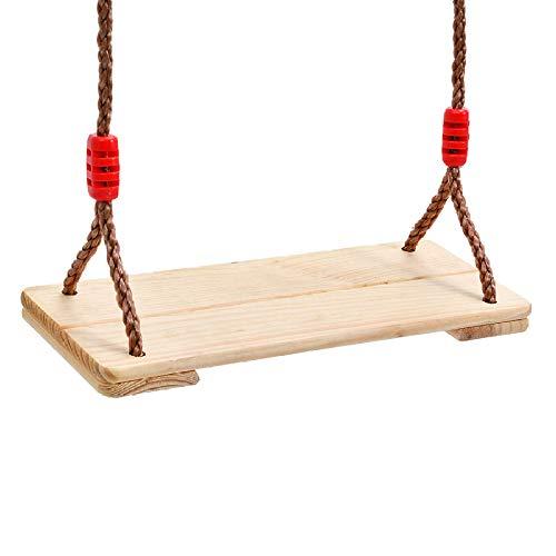 Yjll altalena da esterno/interno in legno di pino, max portata 150 kg, altalena tradizionale giocattolo da giardino per bambini adulti, sedile in legno da albero