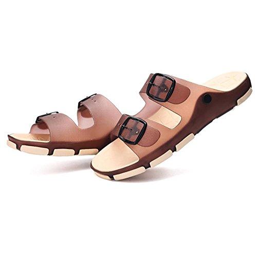 SHANGXIAN Hommes et enfants chaussons & tongs été Latex occasionnels plat talon d'autres marchant bleu marron Brown