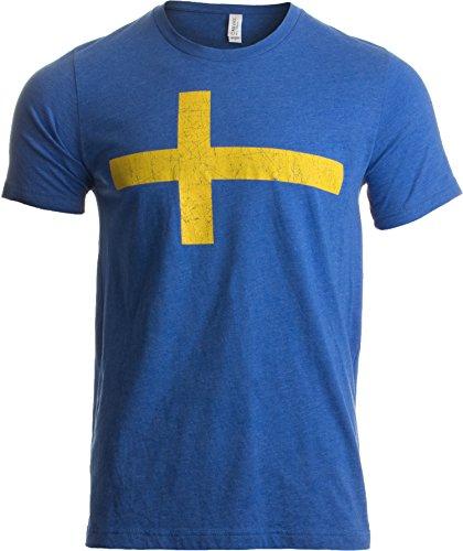 In der Optik der schwedischen Flagge - Rückseite mit DREI-Kronen-Wappen - Schweden Sweden Vintage-Stil Herren/Unisex T-Shirt - XL