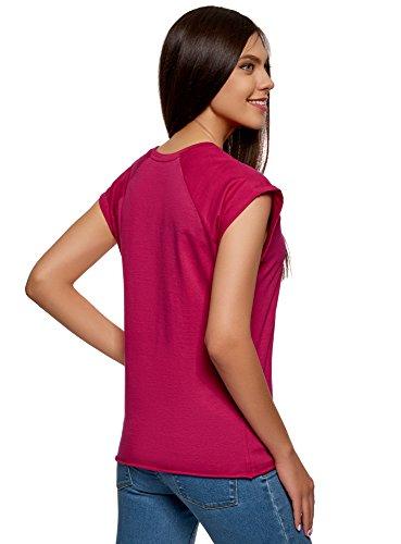 oodji Ultra Donna T-Shirt in Cotone Basic Rosa (4700N)