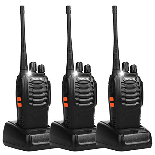 Retevis H-777 Walkie Talkie UHF 400-470MHz 5W 16CH Single Band with Earpiece Handheld2-Way Ham Radio (Black) - Pack 0f 3