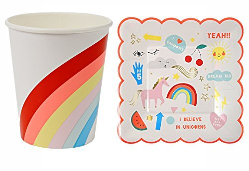 Rainbow Party Supplies Rainbow Geburtstag Party Thema Papier Tassen und Teller Einhorn