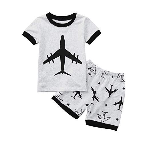 feiXIANG 2tlg Kleinkind Jungen Shirt + Shorts Hosen Set Baby Bekleidungssets Drucken 2-7 Jahre(Grau,5 Jahre)