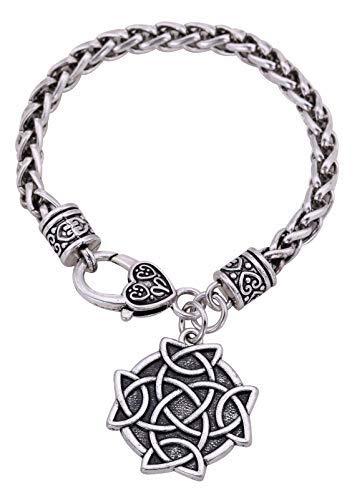 14922a751c42 Pulsera de cadena de trigo étnico con nudo irlandés celta de plata  envejecida