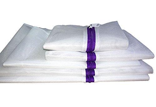 Set von 5Mesh Wäschesäcke–2extra groß, 1groß, 1Mittel, 1klein–Premium Qualität: Wäsche Tasche für Bluse, Strumpfwaren, Lagerhaltung, Unterwäsche, BH und Dessous, Reise Wäschesack, lila Reißverschluss (Zwei Mittel-gepäck-tags)