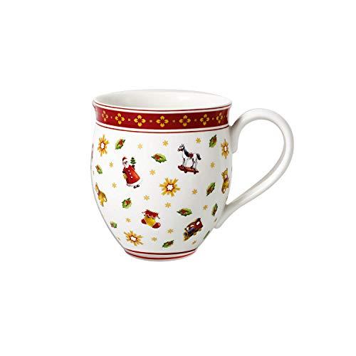 Villeroy & Boch Toy's Delight Kaffeebecher mit Streumotiv, 440 ml, Premium Porzellan, Weiß/Rot