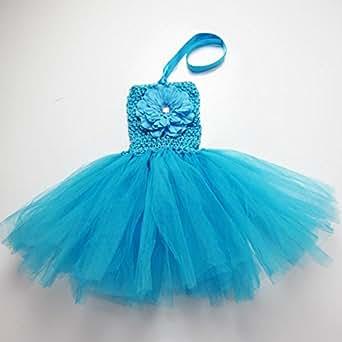 Buenos Ninos 12 Colors Baby Girls TUTU Dress Infant Dress Crochet Tube Top Baby Pettiskirt Dress (Blue)