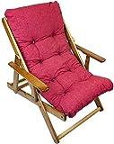 MAURY'S Poltrona Sdraio Harmony Relax Comodona in Legno 3 Posizioni con Cuscino Imbottito (Rosso)