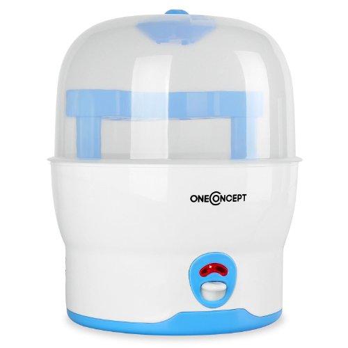 oneConcept Mom&Me Prince Vaporisator Wasserdampf-Babyflaschen Sterilisator Auskocher (Desinfektion für 6 Flaschen, ohne Chemikalien, 500 Watt) blau