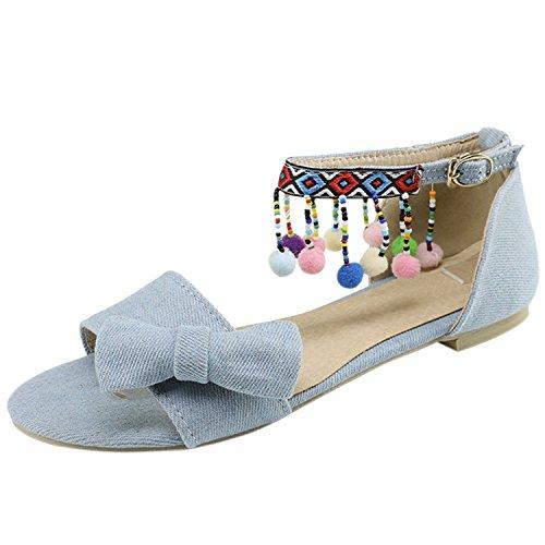 Oasap Women's Peep Toe Bow Ankle Strap Flat Sandals with Pom Pom Light Blue