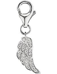 Engelsrufer Flügel Charm für Damen 925er Sterling Silber besetzt mit 28 weißen Zirkonia Größe 14 mm