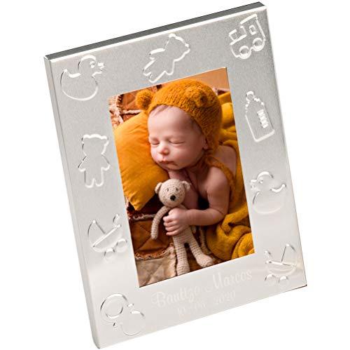 Marco de Fotos Recuerdos para Bautizo con grabación. Lote de 12 Unidades. Detalles para Invitados a un Bautizo, Baby Shower.