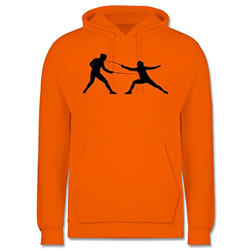 Kampfsport - Fechten - XS - Orange - JH001 - Herren Hoodie (Kapuzen-trainingsoutfit)