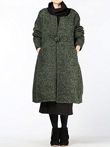 Vogstyle Damen Mantel Wool Coat Mit Ein chinesischer Knopf Lang Mantel Art 1 Schwärzlichgrün