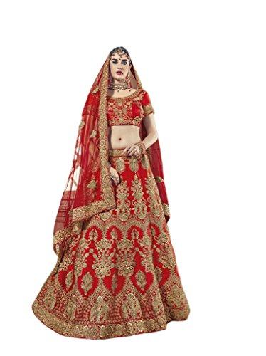 Indian Latest Designer Red Color Art Silk Bridal Lehenga Choli